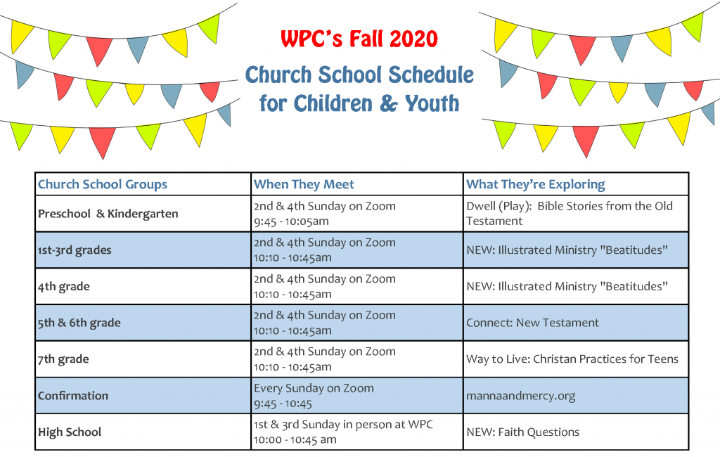 Fall 2020 Church School schedule for Children & Youth